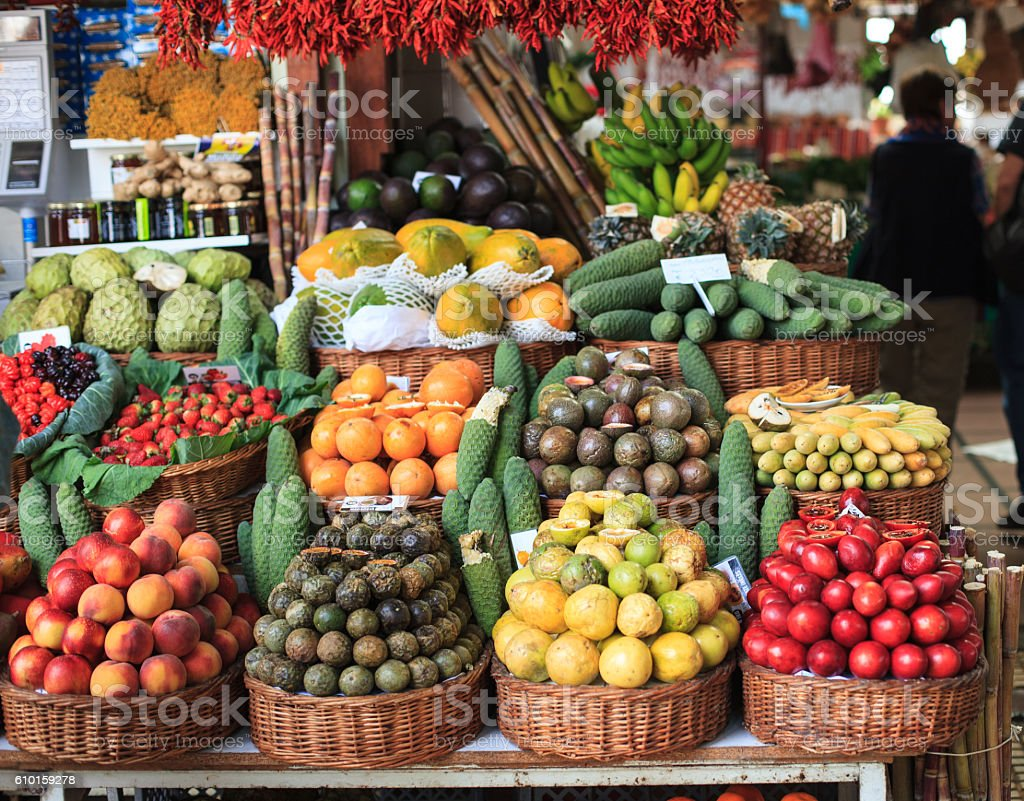 Fresh exotic fruits on  market, Funchal, Madeira island, Portugal stock photo