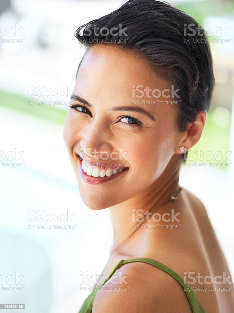 Fresh faced and beautiful stock photo