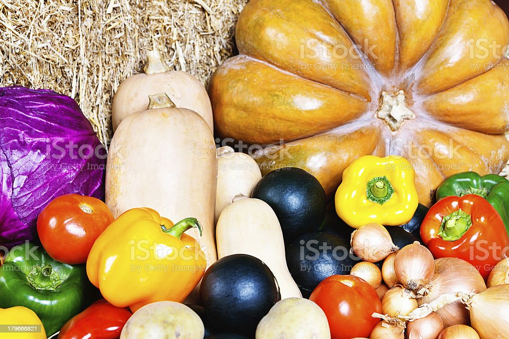 Fresh fall produce on straw at farmers market royalty-free stock photo