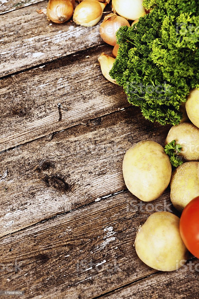 Fresh fall vegetables on weathered wood royalty-free stock photo