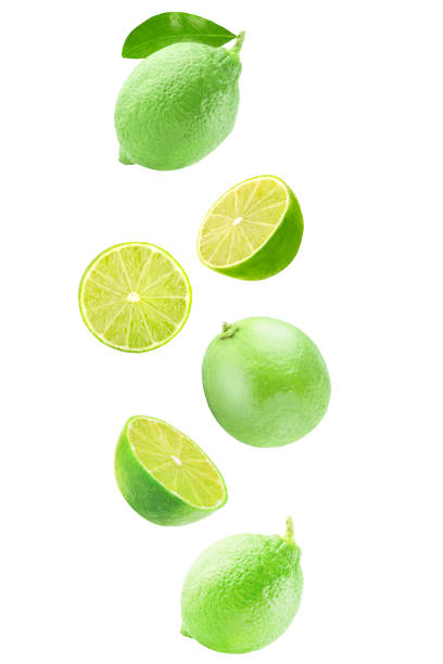 Fresh falling lime isolated on white background with clipping path stock photo