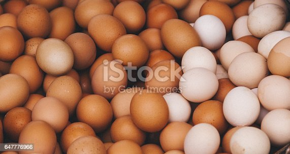 Background of fresh different colors of organic eggs in basket