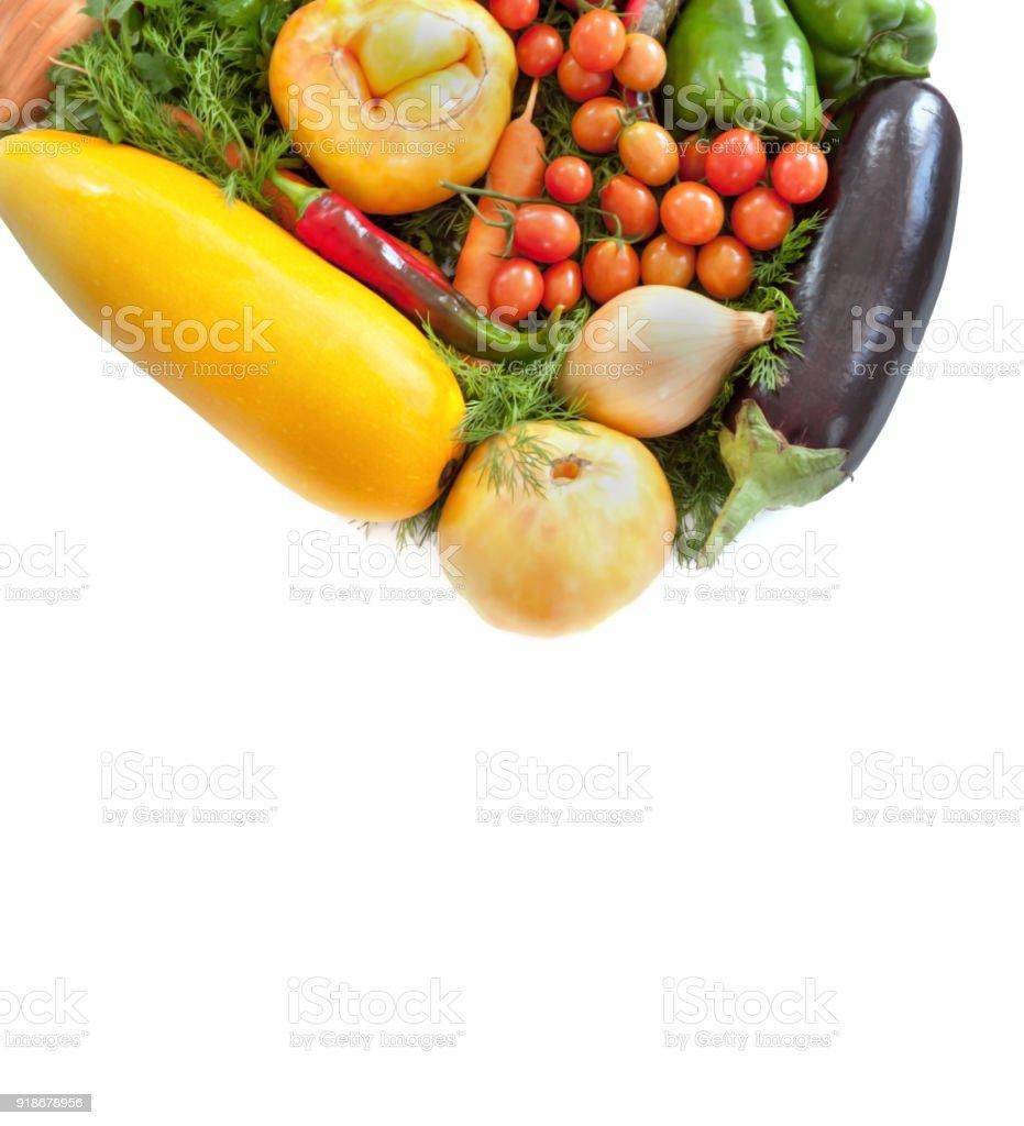 Fresh farm vegetables isoleted on the white background   Food backdrope stock photo