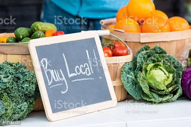 Fresh farmers market veggies with buy local chalkboard sign picture id517184127?b=1&k=6&m=517184127&s=612x612&h=e2h qxku2wnqddajpt e4rg3mr xwiin9kmfliu1vxk=