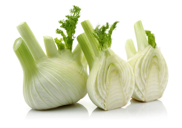 Fresh fennel vegetable and slice Fresh fennel vegetable and slice isolated on white background fennel stock pictures, royalty-free photos & images