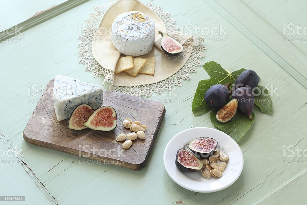 Fresh Fig and Cheeseplate stock photo