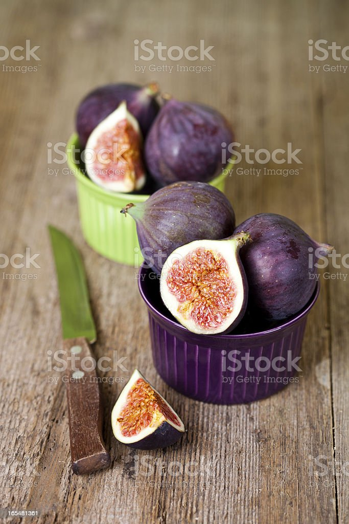 fresh figs and old knife royalty-free stock photo