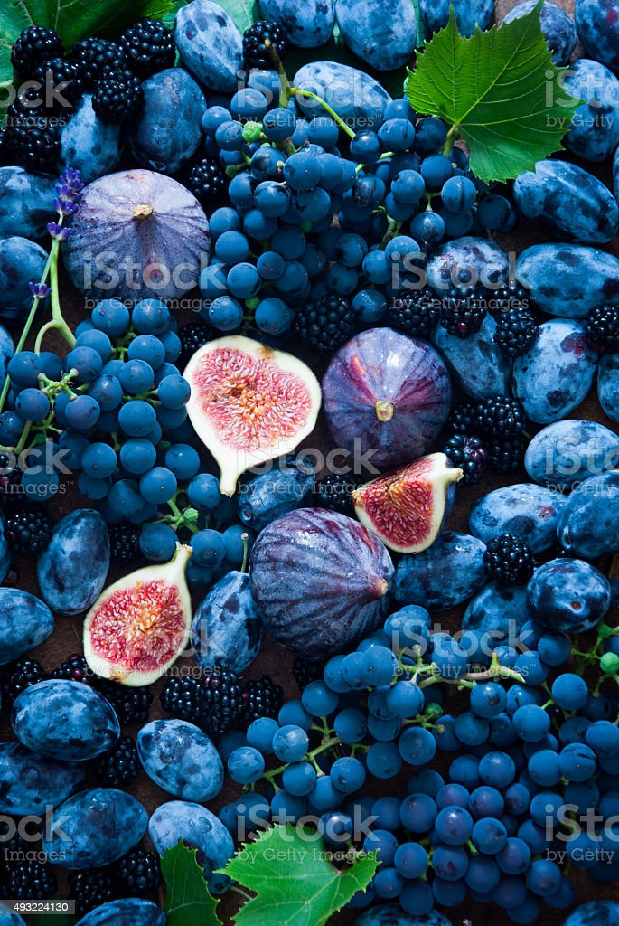 Fresh figs, grapes, prunes and dewberry stock photo