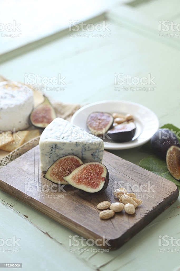 Fresh Figs On A Cheeseboard stock photo