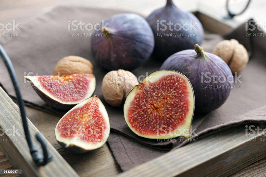Fresh figs on vintage tray royalty-free stock photo