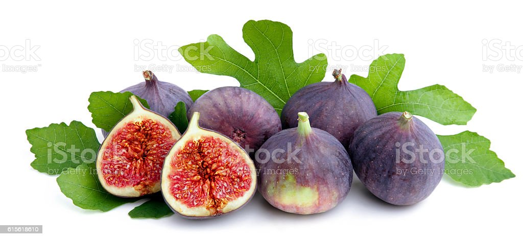 Fresh figs with leaves. stock photo
