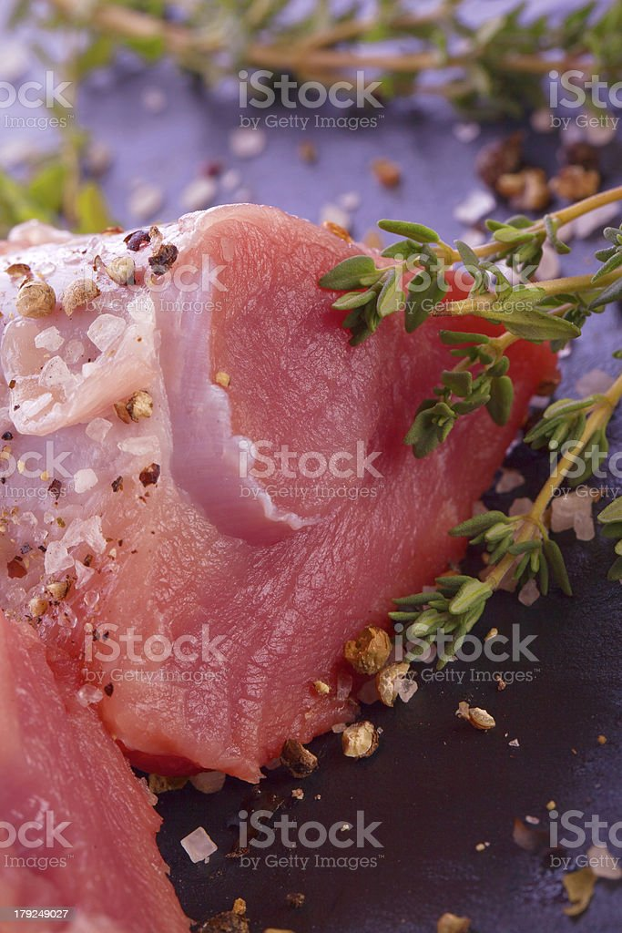 fresh filet with thyme salt and pepper royalty-free stock photo