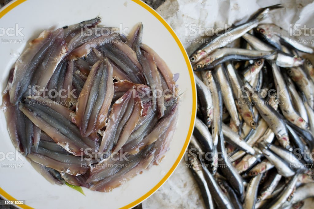 fresh fillets of anchovies stock photo