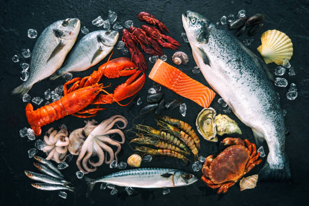 Fresh fish and seafood arrangement on black stone stock photo