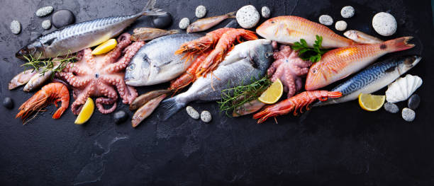 Fresh fish and seafood assortment on black slate background. Copy space. Top view. stock photo