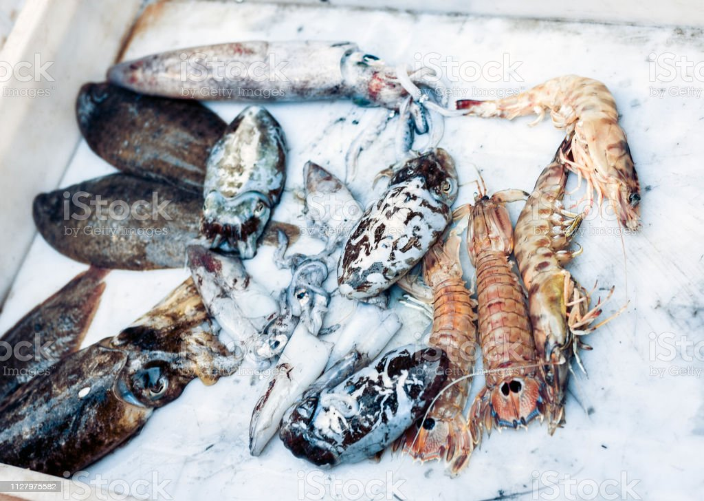 Fresh Fish And Seafood For Sale In The Fish Market Of Catania Sicily