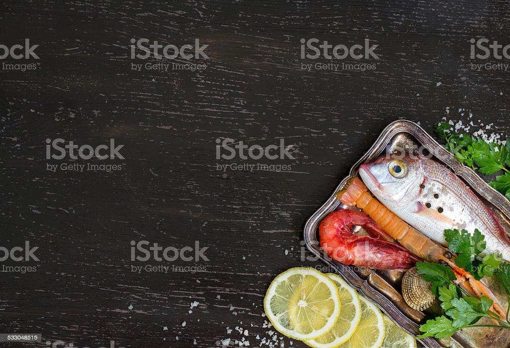 Fresh fish and seafood stock photo