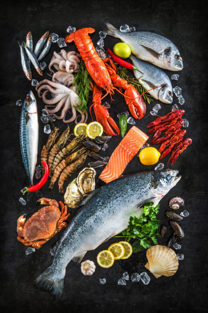 Fresh fish and seafood Fresh fish and seafood arrangement on black stone background atlantic salmon stock pictures, royalty-free photos & images