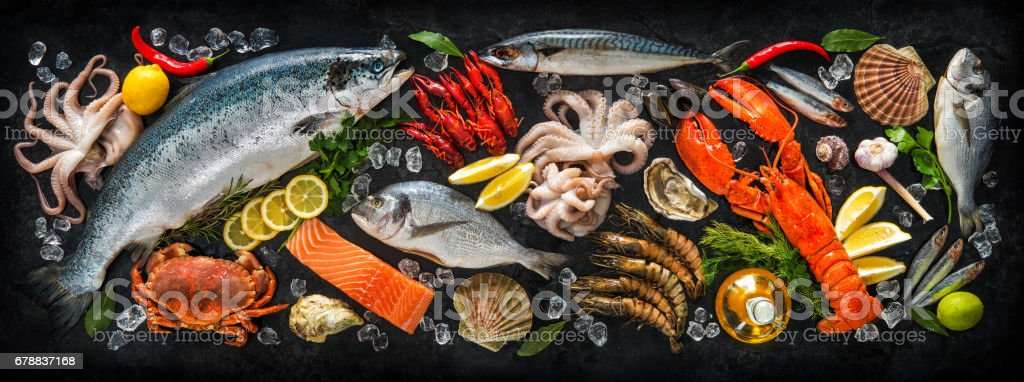 Fresh fish and seafood stock photo