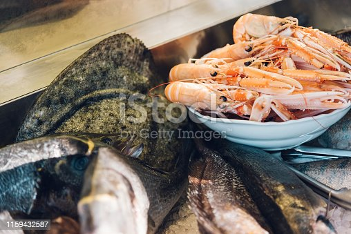 Fresh fish and shrimps. Seafood market
