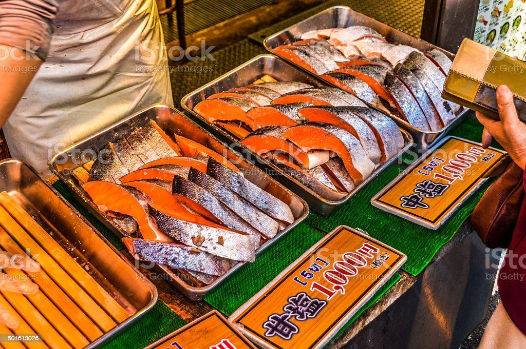 Fresh fish at Asian market stock photo
