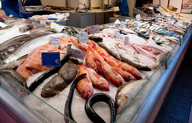 Fresh fish at Les Halles market in Dijon, France stock photo