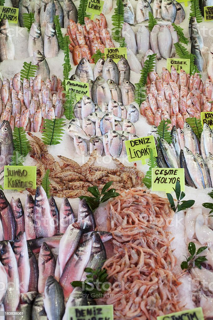 Fresh Fish at the market, displayed on ice royalty-free stock photo