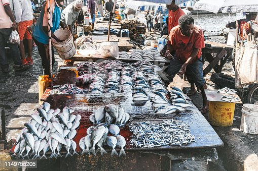 Zanzibar, Tanzania - February 21, 2019: african man at rustic desk packed with fresh fish at the fish market of Zanzibar Harbor