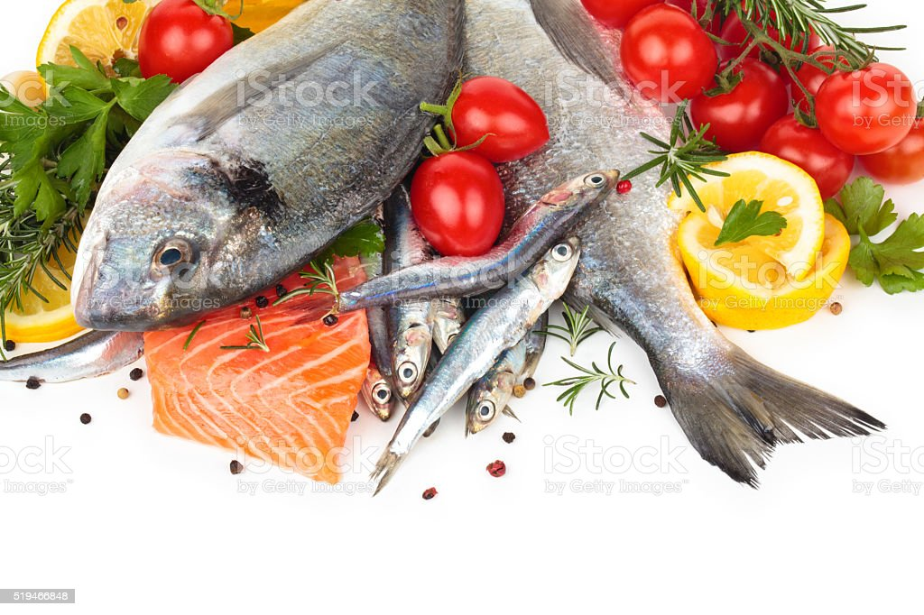 Fresh fish collection. stock photo