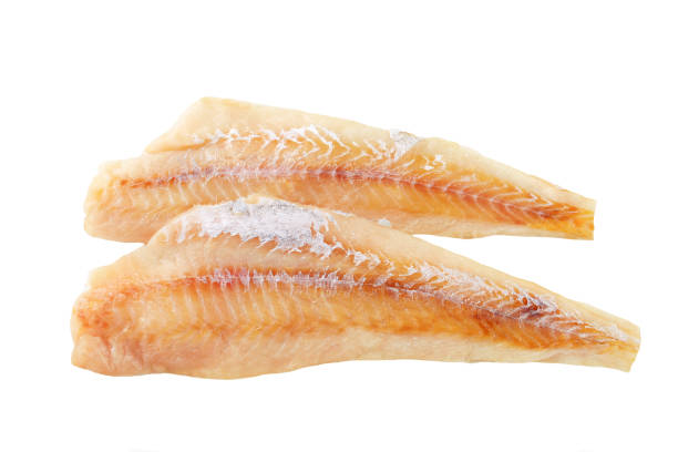 2 fresh fish fillet sat on top of each other stock photo