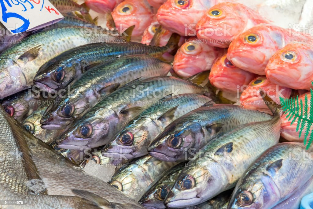 Fresh fish for sale at a market stock photo