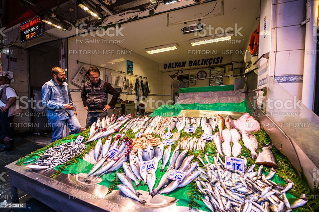 Fresh Fish for sale on Istanbul Street, Turkey stock photo