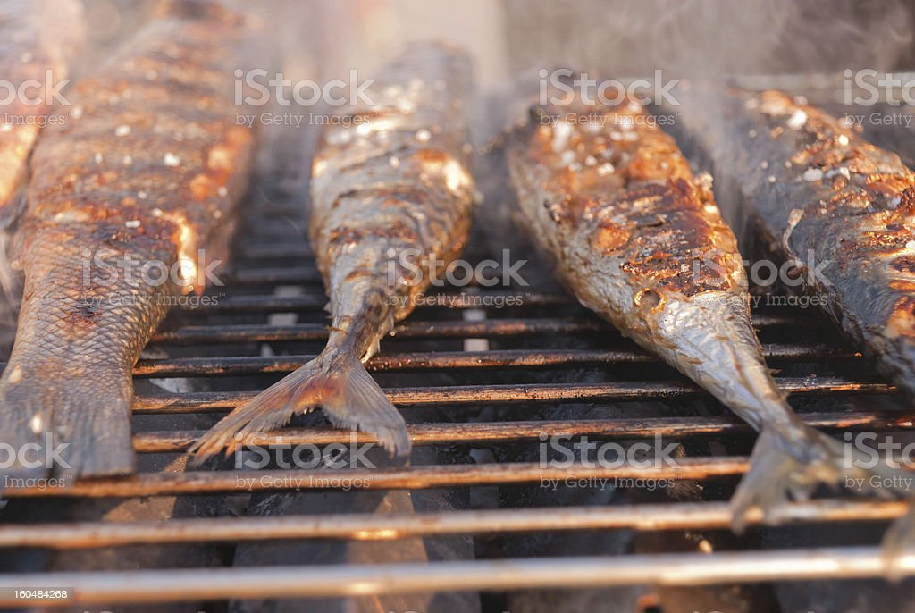 Fresh fish grilled by the Sea royalty-free stock photo