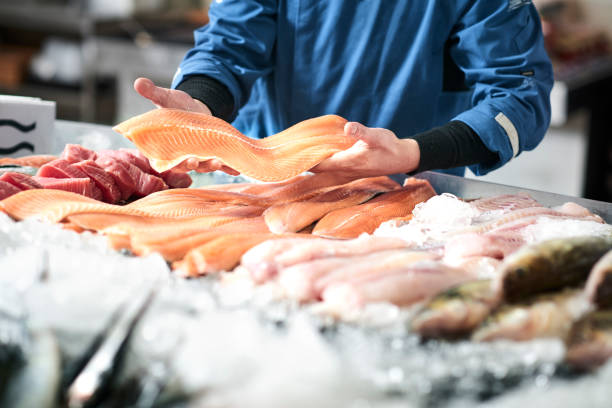 Fresh fish in a fishshop stock photo