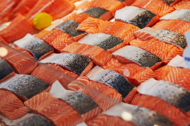 Fresh fish on farmer market stock photo