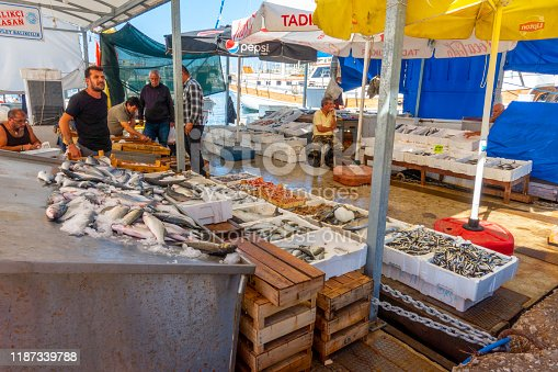 Bodrum, Turkey - November 7, 2019; Fresh fish on sale on the market of the harbour of Bodrum, Turkey