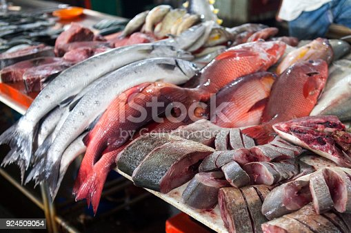 635931692 istock photo Fresh Fish on the Fish Market in Borneo (Malaysia) 924509054