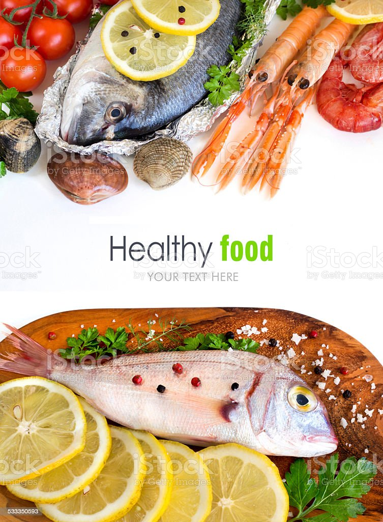 Fresh fish, seafood and vegetables stock photo