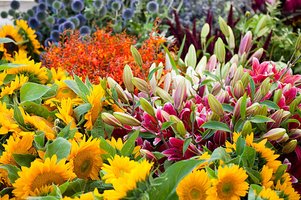 Fresh Flowers at a Farmers Market, Seattle stock photo