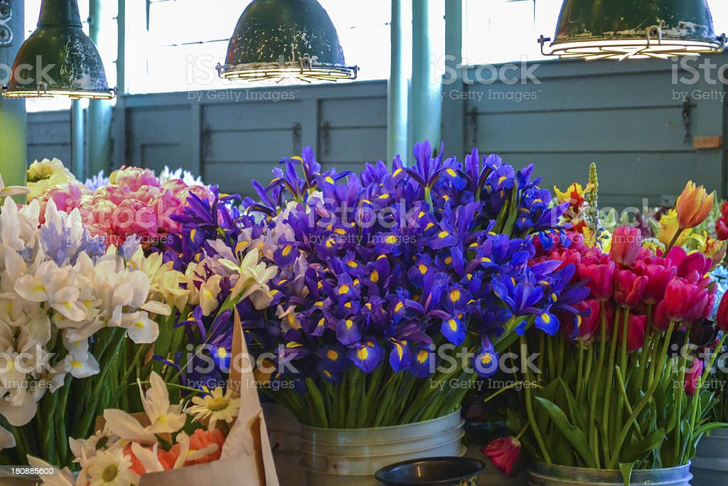 Fresh Flowers at a market stock photo