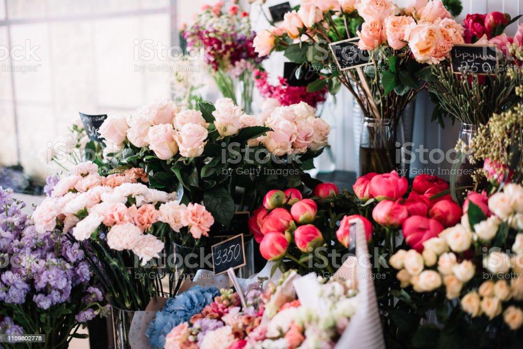 hydrangeas, peonies, matthiolas, roses, carnations, eucalyptus