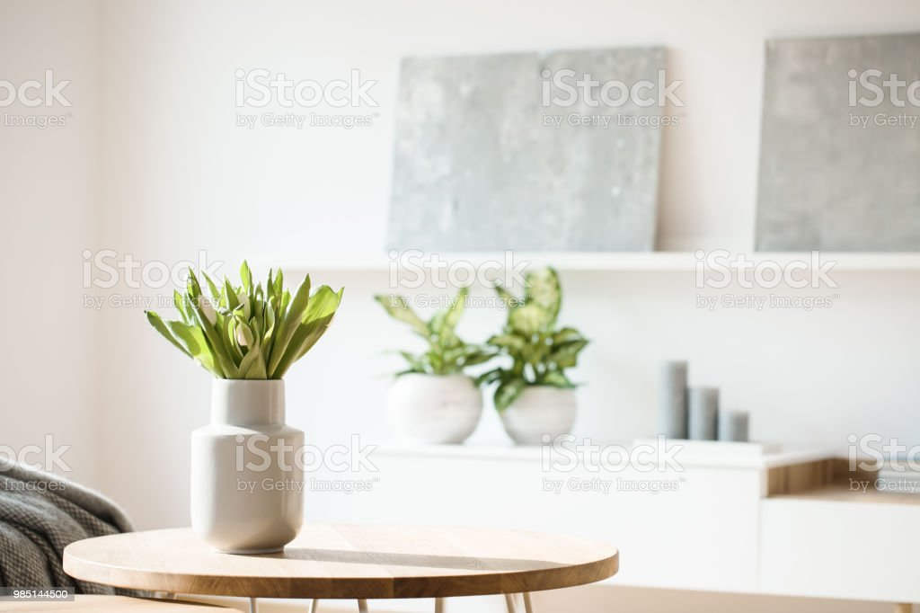 Fresh flowers in white vase placed on small table in bright room interior with paintings, potted plants and candles on shelves in blurred background stock photo