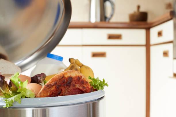 aliments frais dans boîte à ordures ménagères pour illustrer des déchets - détritus photos et images de collection