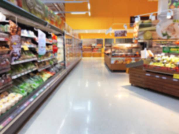 fresh food on shelf in supermarket blurred background Supermarket, Store, Shopping, Department Store, Market produce aisle stock pictures, royalty-free photos & images