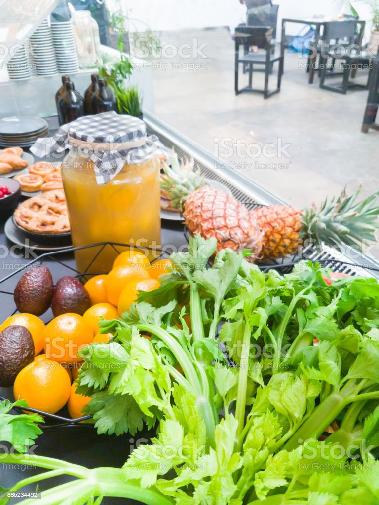 fresh food,bakery items and fruit. stock photo