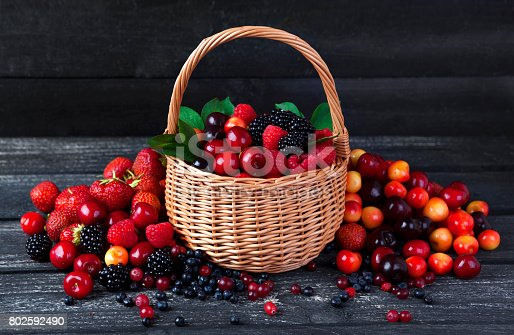 827935944 istock photo Fresh forest berries in basket on rustic wooden background. Copy space 802592490