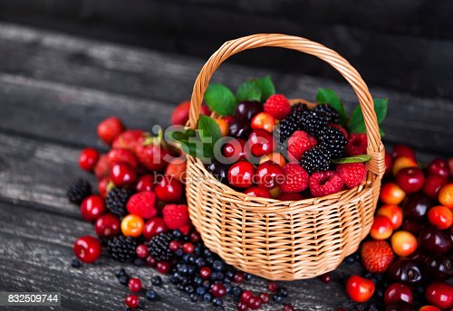 827935944 istock photo Fresh forest berries in basket 832509744
