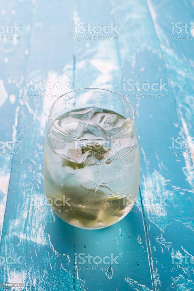 Fresh Fragrant Pandan  Ice Tea and leaves on wood background zbiór zdjęć royalty-free