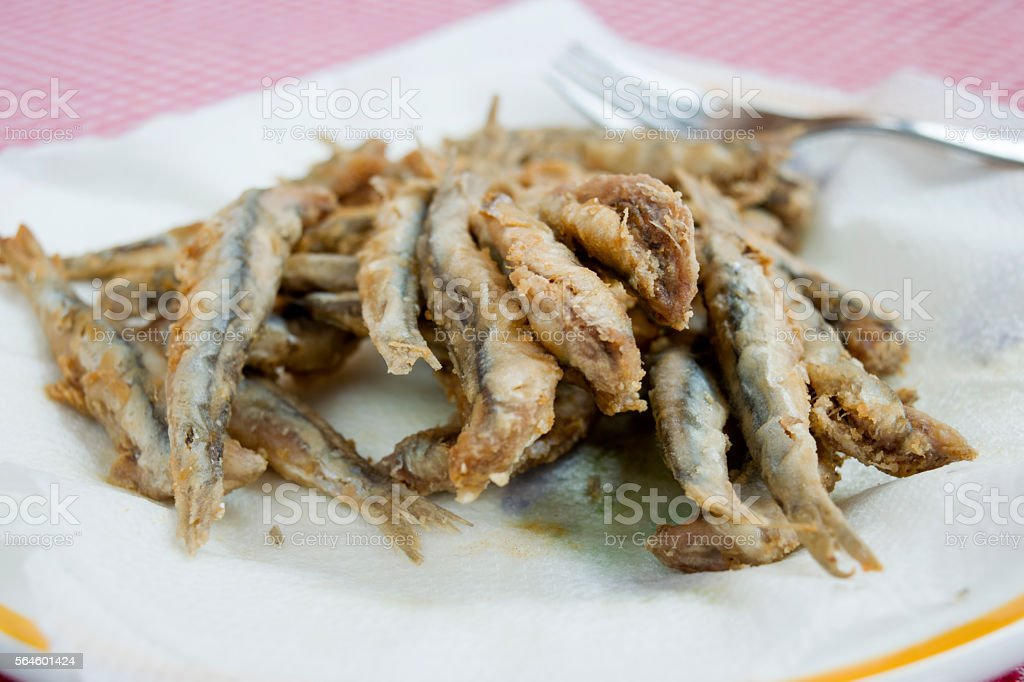 fresh fried anchovies stock photo