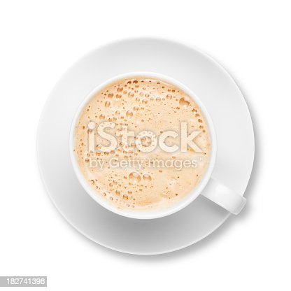 Cup and Saucer full of fresh frothy coffee